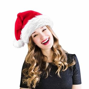 homeasy Weihnachtsmütze Nikolausmütze Weihnachtsmannmütze Partymütze Weihnachtsfeier Hut Weihnachtsmarkt Hüte - 1