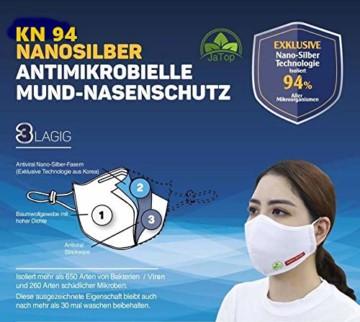 JaTop Mund-und Nasen-Maske waschbar 60 Grad aus Baumwolle dreilagig Silber-Nano-Technologie - 3