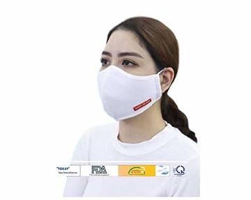 JaTop Mund-und Nasen-Maske waschbar 60 Grad aus Baumwolle dreilagig Silber-Nano-Technologie - 1