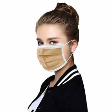 50 Stück Einmal-Mundschutz, Staubs-chutz Atmungsaktive Drucken Mundbedeckung, Erwachsene, Bandana Face-Mouth Cover Sommerscha (50 Stück, Braun-B) - 2