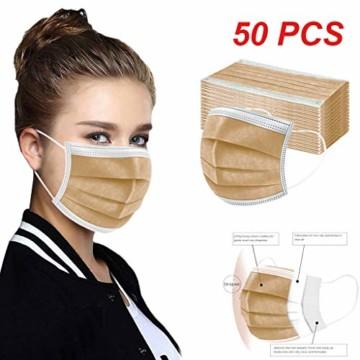 50 Stück Einmal-Mundschutz, Staubs-chutz Atmungsaktive Drucken Mundbedeckung, Erwachsene, Bandana Face-Mouth Cover Sommerscha (50 Stück, Braun-B) - 5